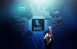 Ppc-lön per affärsidé för internet för klickbetalningteknologi digital marknadsföra på den faktiska skärmen arkivfoto