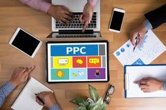 PPC - Lön per klickbegrepp arkivfoton
