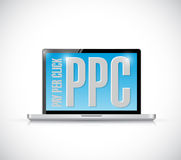 Ppc message on a laptop. illustration design Royalty Free Stock Photos