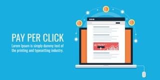 PPC, payé le marketing de recherche, la publicité d'Internet, salaire par clic, media en ligne lançant sur le marché, concept pay illustration libre de droits