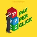 PPC pay per click cube box flat 3d isometric vector Stock Image