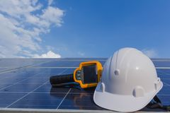 PPE ed attrezzatura per i sistemi solari di manutenzione fotografia stock libera da diritti