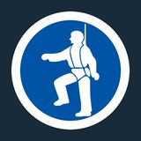 PPE Icon.Safety Harness Must Be Worn Symbols Sign On black Background,Vector llustration. Equipment mandatory protection construction illustration risk hazard royalty free illustration