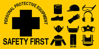 PPE icon. Set on yellow background Stock Photo