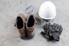 PPE personnel d'équipement de protection sur le fond de petit morceau photos libres de droits