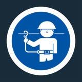 PPE pictogram Het Symboolteken van gebruiksveiligheidsgordels op zwarte Achtergrond, Vectorllustration stock illustratie