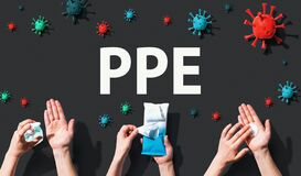 PPE theme with viral and hygiene objects