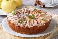 Äppelpaj med kanel och mintkaramellen på plattacloseupen Arkivfoto