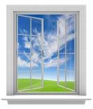 Öppet fönster låta ny vårluft in i hemmet Arkivbild