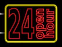 öppet tecken för neon 24hr Arkivbilder