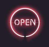 Öppet tecken för neon Arkivfoto