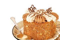 аppetizing fruitcake with a cream close up Stock Images