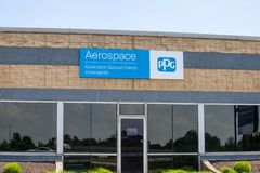 PPG Aerospace Application Support Center. PPG Aerospace is a key global supplier of Coatings products III. Indianapolis - Circa May 2019: PPG Aerospace royalty free stock photo