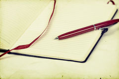 Pphoto of blank notebook and pen Stock Photos