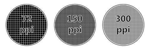 Ppi de la densidad del pixel de la pantalla de la resolución Foto de archivo
