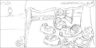 Ppig no desenho de lápis do esboço do carnaval, Imagens de Stock Royalty Free