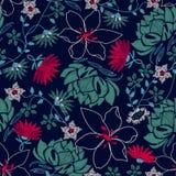 Üppiges Blumenmuster der tropischen Stickerei in einem nahtlosen Muster Stockfotografie
