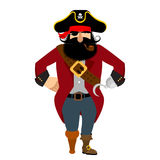 Pirate isolated. Eye patch and smoking pipe. filibuster cap. Bo. Nes and Skull. Head corsair black beard. buccaneer Wooden foot Stock Photos