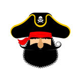 Pirate portrait in hat. Eye patch and smoking pipe. filibuster Royalty Free Stock Photography