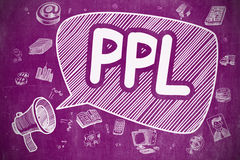PPL - Cartoon Illustration on Purple Chalkboard. Royalty Free Stock Images