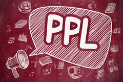 PPL - Doodle Illustration on Red Chalkboard. Royalty Free Stock Image