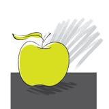 äpple som tecknar frihandssymbolen Arkivfoto