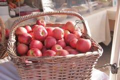 Äpplen på bondemarknaden Royaltyfri Fotografi