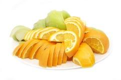 Pples et oranges découpés en tranches Photo stock