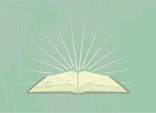 Öppna boken med strålar för grungeillustration för 10 eps tappning för vektor för stil för affisch också vektor för coreldrawillu Royaltyfri Fotografi