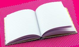Öppna den hårda tillbaka anteckningsboken Arkivbilder