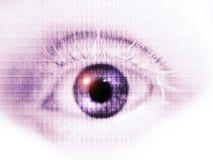 Öppna ögat med binär kod Fotografering för Bildbyråer