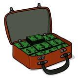 Öppna resväskan med pengar Arkivbild
