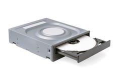 Öppnad drevCD - DVD - Blu Ray med ett svart lock och skiva, vit bakgrund Royaltyfria Foton