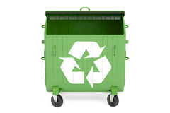 Öppnad grön avskrädebehållare, 3D Arkivbilder