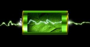 Öppnad grön energibatteridriftgnista Royaltyfri Foto