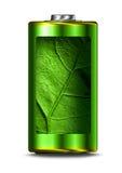 Öppnad grön isolerad energibattericell Royaltyfria Foton