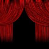 Öppnade röda gardiner Fotografering för Bildbyråer