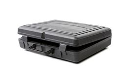 Öppnat svart plast- fall. Fotografering för Bildbyråer