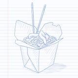 Öppnat ta ut asken med kinesisk mat Arkivfoto