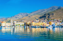 Pport full of small boats in Pothia, Greece Stock Photography