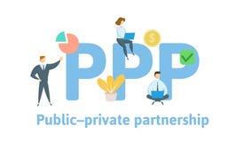 PPP Allmänhet-privat partnerskap Begrepp med nyckelord, bokstäver och symboler Plan vektorillustration Isolerat på vit royaltyfri illustrationer
