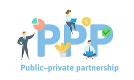 PPP, Publiek-privaat samenwerkingsverband Concept met sleutelwoorden, brieven en pictogrammen Vlakke vectorillustratie Geïsoleerd royalty-vrije illustratie