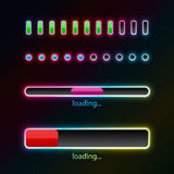 Pprogress bars with neon glow. Various loading progress bars with neon glow Stock Photography