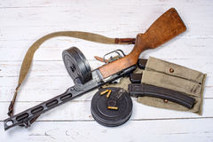 PPSH41 of the Soviet soldier during World War II Royalty Free Stock Photo