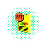 PPT file icon in comics style. On a white background Royalty Free Stock Image