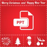 PPT Icon Vector. And bonus symbol for New Year - Santa Claus, Christmas Tree, Firework, Balls on deer antlers Stock Image