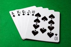 Póquer: Resplendor real (pás) Foto de Stock