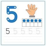 Práctica 5 de la escritura del número Imagen de archivo libre de regalías