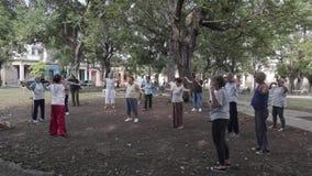Práctica de la mañana en La Habana, Cuba almacen de video