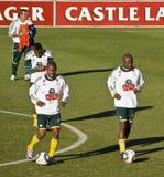 Práctica de las personas de fútbol de Bafana Bafana Imagen de archivo